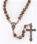 ROUND MARBLEIZED BROWN BEAD ROSARY