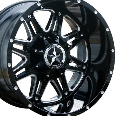 20x12 Gloss Black w/ Milled Spokes Outlaw Wheel, 8x6.5(8x165.1mm)