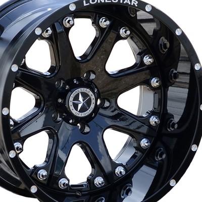 20x12 Gloss Black Lonestar Bandit Wheels (4), 5x5.5 (5x139.7mm) -44mm Offset