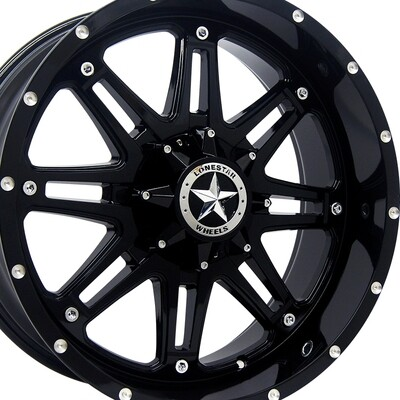 20x9 Gloss Black Outlaw Wheels (4), 5x5.5 (5x139.7mm) 0mm Offset, Ram 1500