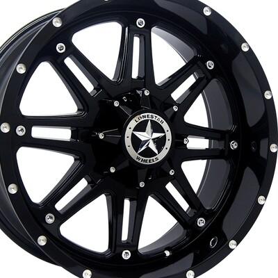 20x9 Gloss Black Outlaw Wheels (4), 5x5.5 (5x139.7mm) 13mm Offset, Ram 1500