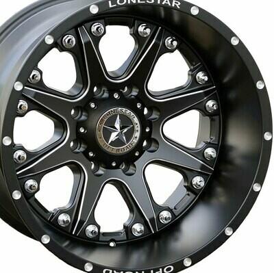 20x12 Matte Black Lonestar Bandit Wheel, 8x6.5(8x165.1mm) -44mm Offset