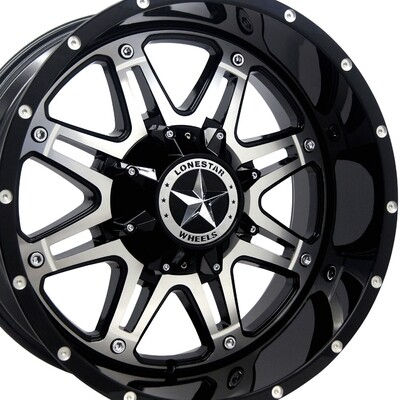 20x10 Gloss Black & Mirror Face Outlaw Wheel, 6x5.5(139.7mm) & 6x135mm