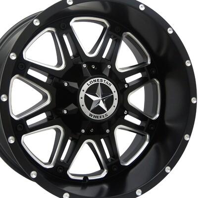 20x10 Matte Black Outlaw Wheels (4), 8x180mm