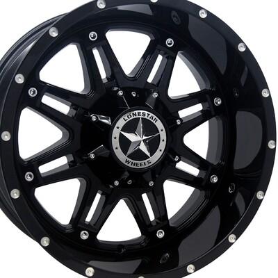 20x10 Gloss Black Outlaw Wheels (4), 8x6.5(8x165.1mm)