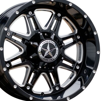 20x10 Gloss Black with Milled Windows Outlaw Wheels (4), 8x6.5(8x165.1mm)