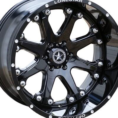 20x12 Gloss Black Lonestar Bandit Wheels (4), 6x5.5, Chevrolet 6 lug