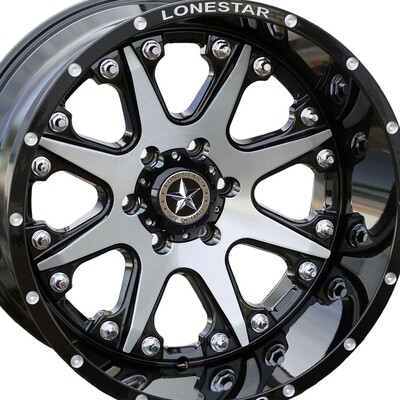 20x12 Gloss Black with Brushed Face Lonestar Bandit Wheels (4), 6x135mm