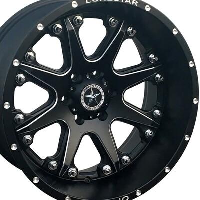 20x12 Matte Black and Milled Accent Lonestar Bandit Wheel, 6x5.5, Chevrolet 6 lug