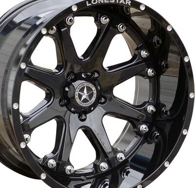 22x12 Gloss Black Bandit Wheel, 8x180, Chevy 8 lug