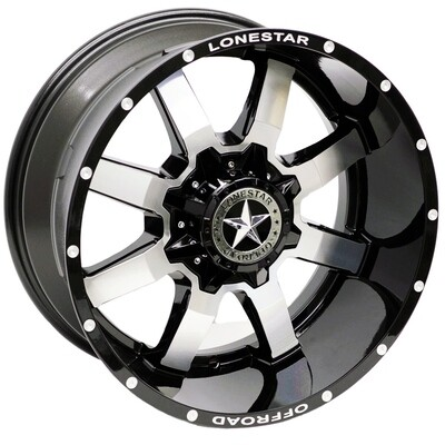 20x10 Gloss Black with Mirror Face Lonestar Gunslinger Wheels (4), 8x170, -25mm Offset, F250