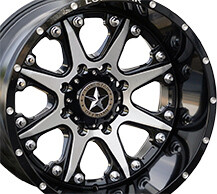 20x12 Gloss Black & Brushed Face Lonestar Bandit Wheels (4), 8x180mm -44mm Offset