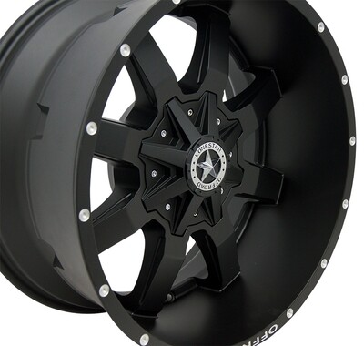 20x10 Matte Black Gunslinger Wheel, 5x5.5 Ram 1500 and 5x150mm Toyota Tundra
