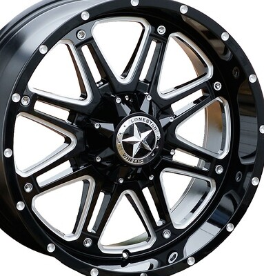 20x9 Gloss Black & Milled Lonestar Outlaw Wheels (4), 6x135mm & 6x5.5 (6x139.7mm) 0mm Offset