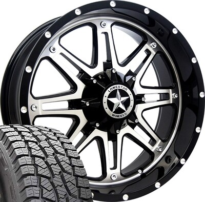 20x9 Mirror Face Lonestar Outlaw Wheel & 275/55 AT tires - 6 LUG