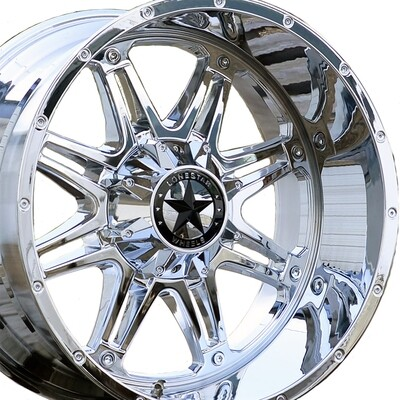 22x12 Chrome Outlaw Wheels (4), 8x170 LUG, F250