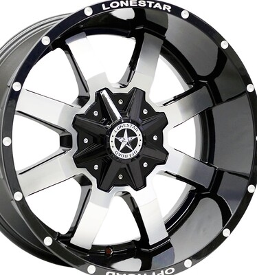 20x10 Gloss Black & Mirror Gunslinger Wheel, 6x135 & 6x5.5 (139.7mm), -25mm Offset , F150, 1500
