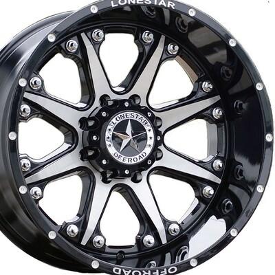 22x12 Gloss Black w/ Brushed Face Bandit Wheel, 8x180, Chevy 8 lug