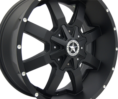 20x9 Matte Black Lonestar Gunslinger Wheel, 6x5.5 (6x139.7mm) & 6x135mm  0mm Offset