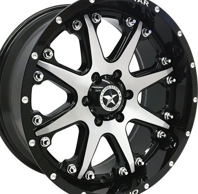 20x9 Gloss Black w/Brushed Face Bandit Wheel, 6x5.5(6x139.7mm) +13mm Offset