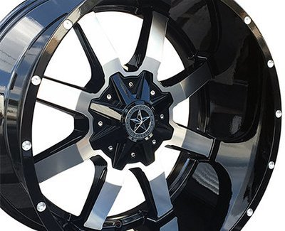 22x12 Gloss Black & Mirror Gunslinger Wheels (4), 8x6.5, Dodge Ram & Chevrolet 2500