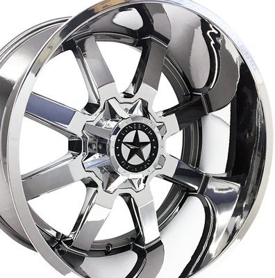 22x12 Chrome Gunslinger Wheels (4), 8x6.5, Dodge & Chevrolet 2500