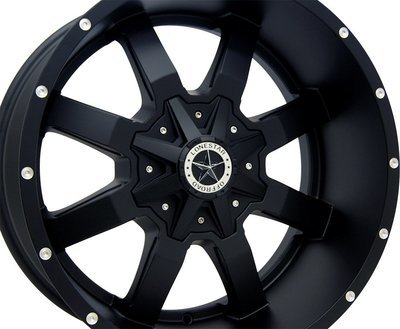 20x10 Matte Black Gunslinger Wheel, 6x135mm & 6x5.5 (139.7mm) , -25mm Offset, F150, Chevrolet 1500