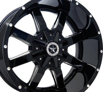 20x10 Gloss Black Gunslinger Wheel, 8x180, -25mm Offset, Chevy 2500