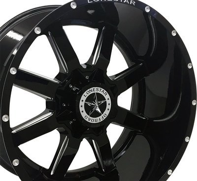 20x10 Gloss Black Gunslinger Wheel, 5x5.5 (5x139.7mm) & 5x5 (5x127), -12mm Offset, Ram, Jeep