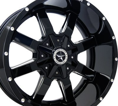 20x10 Gloss Black Gunslinger Wheel, 6x135 & 6x5.5 (139.7mm), -12mm Offset, F150, 1500