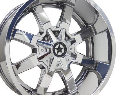 20x10 Chrome Lonestar Gunslinger Wheel, 5x5.5 (139.7mm) & 5x5 (127mm), -25mm Offset, Ram, Jeep