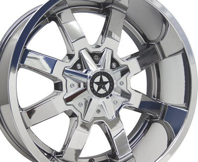 20x10 Chrome Gunslinger Wheel, 6x135 & 6x5.5 (139.7mm), -25mm Offset Ford Chevy