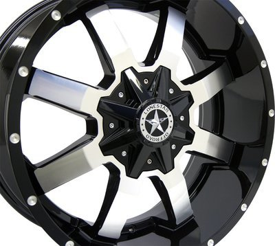 20x9 Black and Mirror Gunslinger Wheel, 6x135mm & 6x5.5 (6x139.7), 0mm Offset, Ford F150, Chevrolet 1500