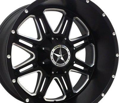 22x12 Matte Black & Milled Outlaw Wheels (4), 8x170 LUG, Ford F250