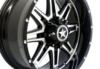 20x9 Gloss Black & Mirror Face Lonestar Outlaw Wheels (4), 6x135mm & 6x5.5 (6x139.7mm) +13mm Offset