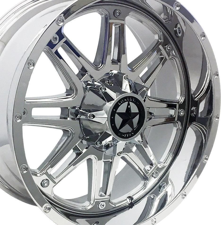20x9 Chrome Outlaw Wheels (4), 5x5.5(5x139.7mm) & 5x5(5x127mm) +18mm