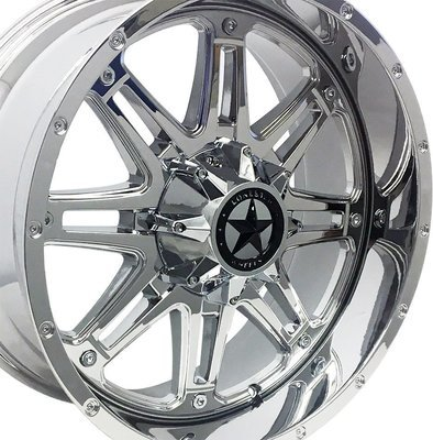 20x9 Chrome Outlaw Wheel, 6x5.5 0mm Offset, Chevy 1500