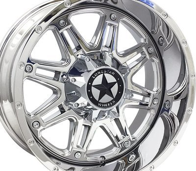 20x10 Chrome Lonestar Outlaw Wheels (4), 5x5.5(139.7mm) & 5x150mm