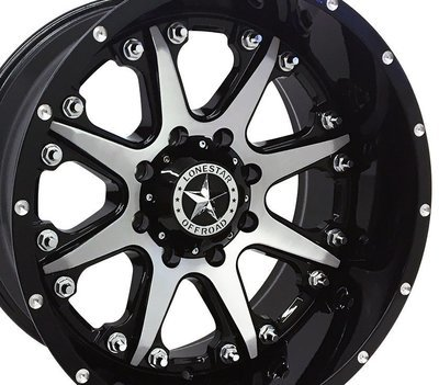 20x10 Gloss Black w/Brushed Face Bandit Wheel, 8x170, F250 8 lug