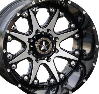 20x12 Gloss Black & Brushed Face Lonestar Bandit Wheel, 8x6.5(8x165.1mm) -44mm Offset