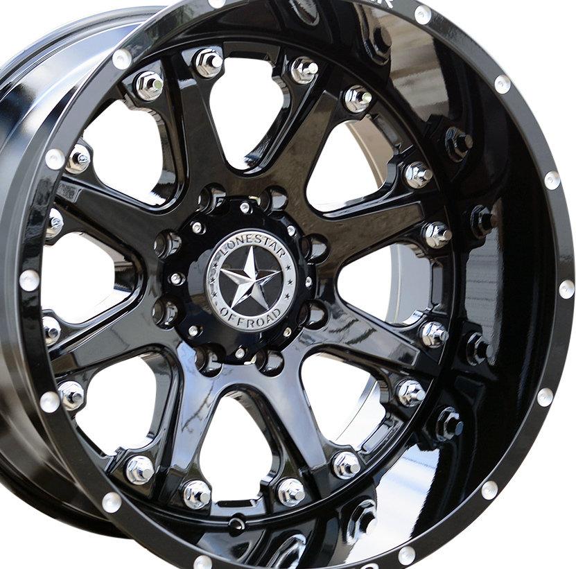 20x12 Gloss Black Lonestar Bandit Wheel, 8x180mm -44mm Offset