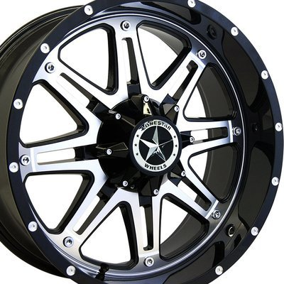20x9 Gloss Black & Mirror Face Lonestar Outlaw Wheels (4), 5x5.5 (5x139.7mm) & 5x5.0 (5x127mm) 0mm Offset
