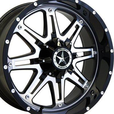 20x9 Gloss Black & Mirror Face Lonestar Outlaw Wheels (4), 5x5.5 (5x139.7mm) & 5x5.0 (5x127mm) +18mm Offset
