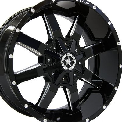 20x9 Gloss Black Lonestar Gunslinger Wheel, 6x135mm & 6x5.5 (6x139.7) 0mm Offset