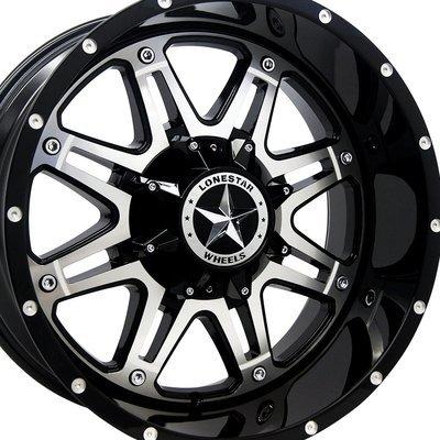 20x10 Gloss Black w/Mirror Face Outlaw Wheels (4), 8x6.5 (8x165.1mm)