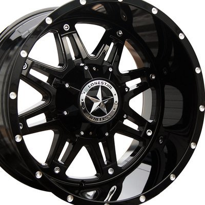 20x12 Gloss Black Outlaw Wheel, 5x5.5(5x139.7mm) & 5x150mm