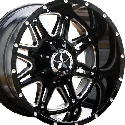 20x12 Gloss Black w/Milled Accents Outlaw Wheel, 5X5.5(5x139.7mm) & 5x150mm