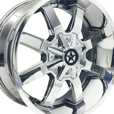 20x9 Chrome Gunslinger Wheel, 6x135mm & 6x5.5 (6x139.7), 0mm Offset, Chevrolet 1500, Ford F150