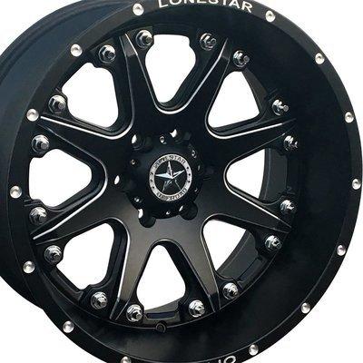 20x12 Matte Black Lonestar Bandit Wheels (4), 6x135mm