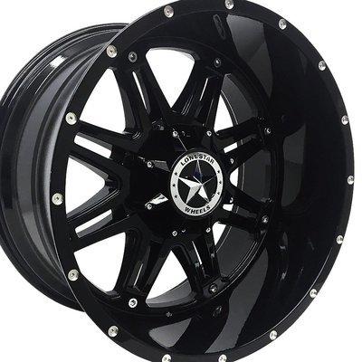 22x12 Gloss Black Outlaw Wheels (4), 6 LUG, F150, Silverado 22